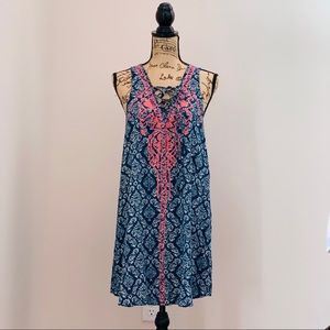 Flying Tomato Blue Pink Embroidered Boho Sun Dress